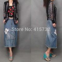 Free Shipping 2014 New Fashion Straight Skirt Casual 100% Cotton Denim Long Mid-calf Jeans Appliques XXL Skirt Plus Size Tassels