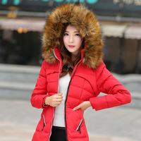 European Grand Prix 2014 new Korean winter real fur collar waist down jacket and long sections padded women