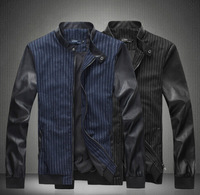 Fast Shipping 2014 NEW Hot autumn-winter fashion slim long sleeved men's PU jackets 2 colors