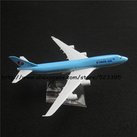 16cm Alloy Metal Airplane Model Korean Air B747 400 Airlines Boeing 747 Airways Plane Model W Stand Aircraft Toy Gift