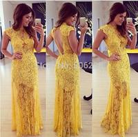 2015 Sexy dress Women Helter Evening dress Sleeveless yellow wholesale  lace fashion dress 1002