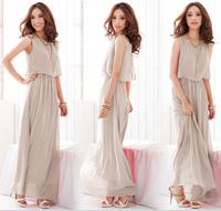 Hot ,elegant women maxi dress summer chiffon ladies casual solid color bohemian beach dress ,D559