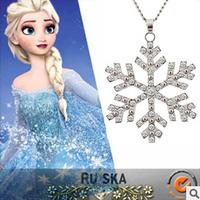 2014 New Rhinestones Frozen Ice Necklace Snowflake Pendant Long Clothes Necklace Wholesales