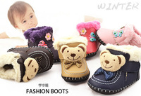 free shipping 2014 Germany baby shoes handsewn first walkers genuige leather soft bottom bear prewalker
