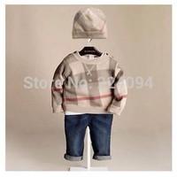 Freeshippingfree shing  new High quality kids long sleeve knit t-shirt  children plaid wool t-shirt + hat suitble 1-5 years