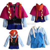Winter Frozen Girls Outerwear Princess Elsa And Anna Fleece Hoodie Coat Kids Christmas Clothing Xmas Costume Detachable Wig Cape