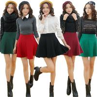 Women winter high waist tutu skirt pleated wool skirts womens woolen skater skirt short saia