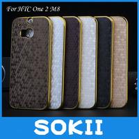 [case]Luxury Gold Frame Ball Skin Back Cover For HTC One 2/HTC M8 cover,For HTC One 2/HTC M8 chrome hard case cover+Screen film
