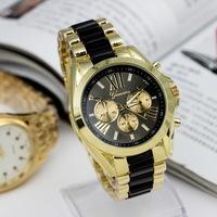 Fashion Men Geneva Brand Full steel Quartz watch women luxury casual dress wristwatches ladies gold dial clock Alloy relogio