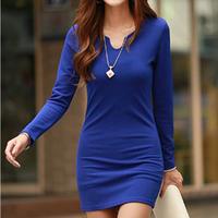 2014 sexy slim all-match V-neck long-sleeve bodycon mini pencil dresses free shiping