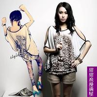 2015 new Women fashion bat shirts tiger print temperament long short sleeve loose t-shirt women blouse