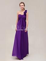 One-Shoulder Floor-Length Pleated Chiffon Flower Purple Bridesmaid Dress vestido de festa