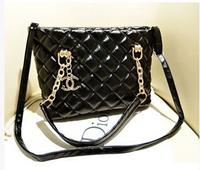 Free shipping 2014 news Channelled Bag black Genuine leather chain large capacity women's handbag shoulder bag