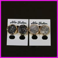 natural crystal quartz druzy stone earring,drusy agate stone earring,gold plated  stone earring jewelry