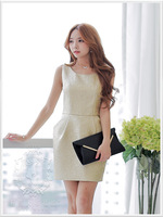 2015 free shipping+wholesale New product fashion Manual beaded casual for women's party gold dress