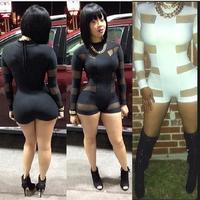 New 2014 Rompers Womens Jumpsuit Sexy Mesh Insert Panel Long Sleeve Short Bandage Jumpsuit Bodysuit BP4092
