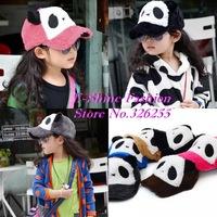 High Quality children winter hats new design cute panda fuchsia black downy thermal child baseball cap Kids girl boy winter cap