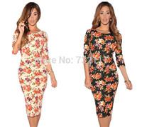 New European Style Women  Hollow Back Vestido Half Sleeves Floral Dress Bodycon Dress Ladies dress party elegant  HD038