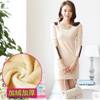 S-5XL,2014 New Fashion Autumn and Winter Women's Dresses Long-sleeve Female Plus Velvet Thickening Basic Dress