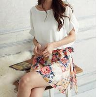 2014 New fashion  Womens Girls Summer Flower Floral Pattern Sleeveless Chiffon Mini Dress
