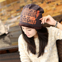Free Shipping  Korea 2014Winter Letter Hats Wholesale Thickening and Velvet Warm Confined Cap For Man And Women