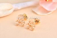 Free shipping 10pcs/lot Pirate Emblem Skull Pattern Stud Earrring, Cool Tiny Pirate Emblem Skull Stud Earrings ED058