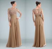 Modest Decent Chiffon Vestido De Renda Boat Neck Long Sleeve A Line Floor Length Evening Gowns Appliques Evening Dresses