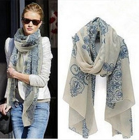 New Fashion 2014 High quality Blue and White Porcelain Style Thin Section the Silk Floss Women Scarf Shawl 1pcs free shipping