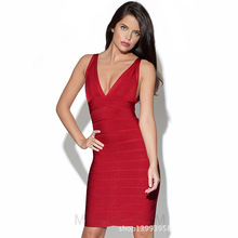 New Arrival Elastic Knitted Sleeveless Patchwork Beige Bodycon Bandage Dress deep V sexy hip dress shoulder-straps Tight dress