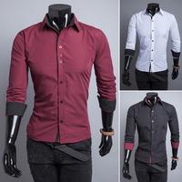 2014 New man kroean clothing  color blocking mens slim fit dress shirts  M- XXL