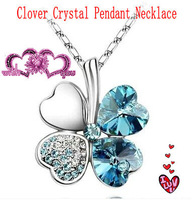 Popular accessories sweet clover crystal pendant necklace Women chain