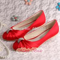 (14 Colors)Custom Handmade Red Satin Ballet Flats Bridal Shoes Wedding Closed Toe Free Dropshipping