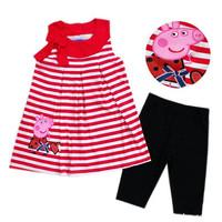 Free Shipping Girls Children set peppa pig kids sleeveless T-shirt and flower shorts new 2015 summer girls clothes