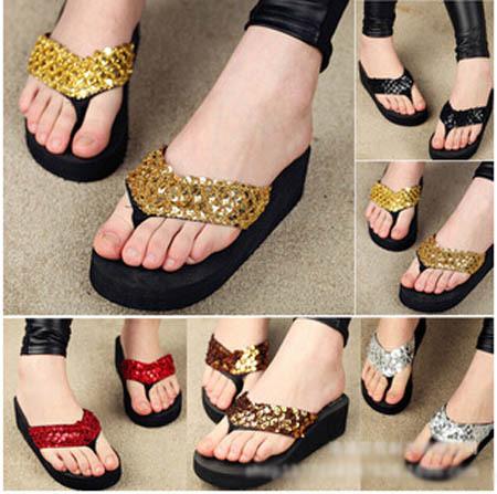 Glitter Wedge Flip Flops Women Wedges Flip Flops