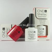High quality CND Shellac 6pcs/lot(4colors+1Base +1Top) Soak Off LED UV Gel Polish Nail Art Make Up 7.3ml 79Colors Choose