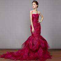 2014 Red fish tail wedding dress Tube top slim Winter wedding dress vestido de noiva Romantic sexy salomon fashionable dress