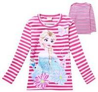 2014 Girls Spring Autumn Cartoon Children kids baby Frozen Fringe Princess T shirt long sleeve girl tees free shipping