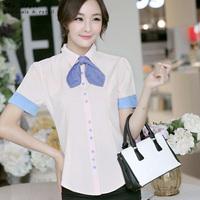 2014 New Fashion Slim Short Sleeve Elegant Work Wear Female Clothing Plus Size Shirts Ladies Tops White Pink Women Blouse 2147