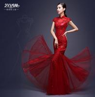 Fish tail bride evening dress 2014 winter vintage cheongsam Red marry long design Evening dress vestidos salomon casamento