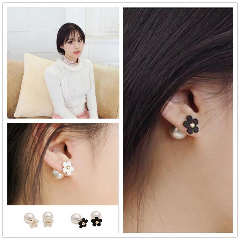 Hot Selling New Charm Paragraph Earrings 2014 Double Side Shining Pearl Flower Stud Earrings Big Pearl