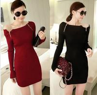 2014 new Women dresses Slash neck double zipper Slim Thin Knitting Bottoming shirt Women's dresses