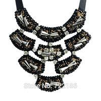 Retro Ribbon Imitation Gemstone Beads Choker Necklace For Women Joias 2014 New Fashion Jewelry From India
