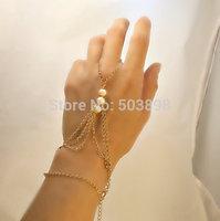 retail free ship style HA028 Fashion Jewelry  Women Pearl Metal Hand Chain finger Bracelets Bangle Chains  Body chain