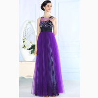 Vestido De Festa Purple Evening Gown Dress Party Evening Elegant Rhinestone Decorations Excellent Chiffon Long Evening Dress