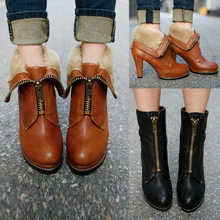 2014 New Fashion Womens Platform Ankle Boots Faux Fur Womens Winter Boots Casual Ladies Outdoor Warm Boots Shoes Wholesales(China (Mainland))