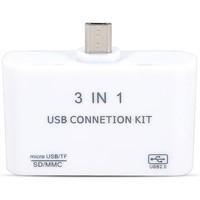3 in 1 Micro USB HUB Card Reade + HUB +Micro USB for Samsung Galaxy 2 3 4Sony Smartphone and Table