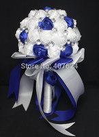 professional factory  pure handmade blue artificial wedding flower bride bouquet wedding bouquets  Free Shipping