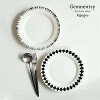 8 Inch Plate ,Black geometry ! rhombus bone china dish/ steak dish /western dishes +Free shipping