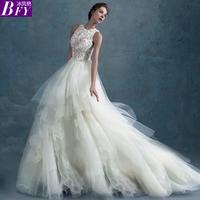Winter Slit neckline slim Long trailing lace Big train double-shoulder vestido de noiva romantic mermaid wedding dress