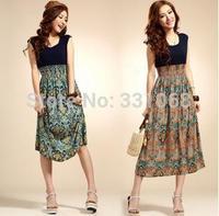 New Brand 2014 Summer Women Casual Print Sleeveless Dress Chiffon stripe / floral print Elastic Waist Bohemian Beach Dresses